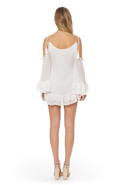 Cold Shoulder Beach Gauze Cover Up - White