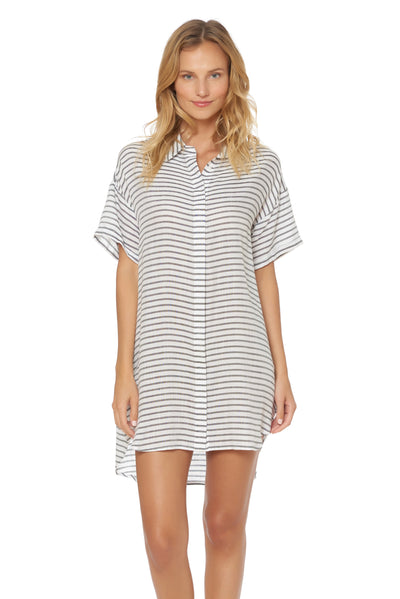 Shirt Tunic Cover Up - White - Red Carter