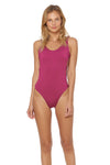 Splice & Dice Reversible Knot-Side Tank Maillot Swimsuit - Rose/Fancy