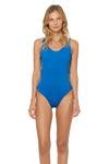 Splice & Dice Reversible Knot-Side Maillot Swimsuit - Capri/Vision