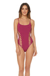 Splice & Dice Side Cut Maillot - Rose