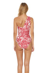 Shanghai Shirred One Shoulder 1 Piece Swimsuit - Ruby