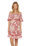 Shanghai Off The Shoulder Cover Up Dress - Ruby - Red Carter