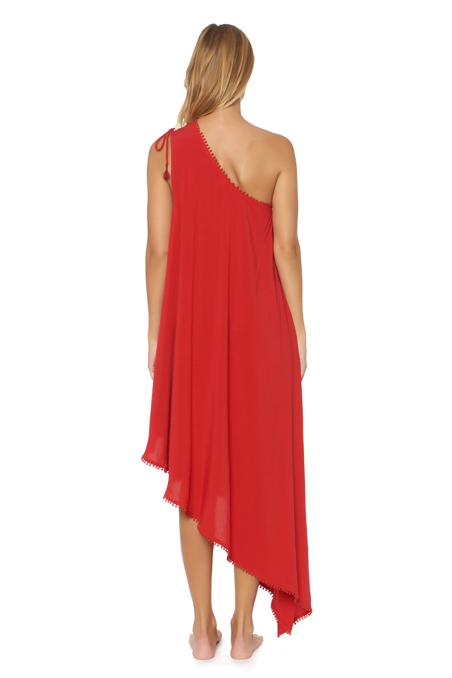 Shanghai One Shoulder Maxi Cover Up - Ruby