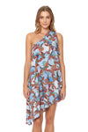 Tahitian Tide One Shoulder Cover Up Dress - Ocean