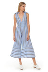 Kelly Jumpsuit - Chambray Stripe - Red Carter