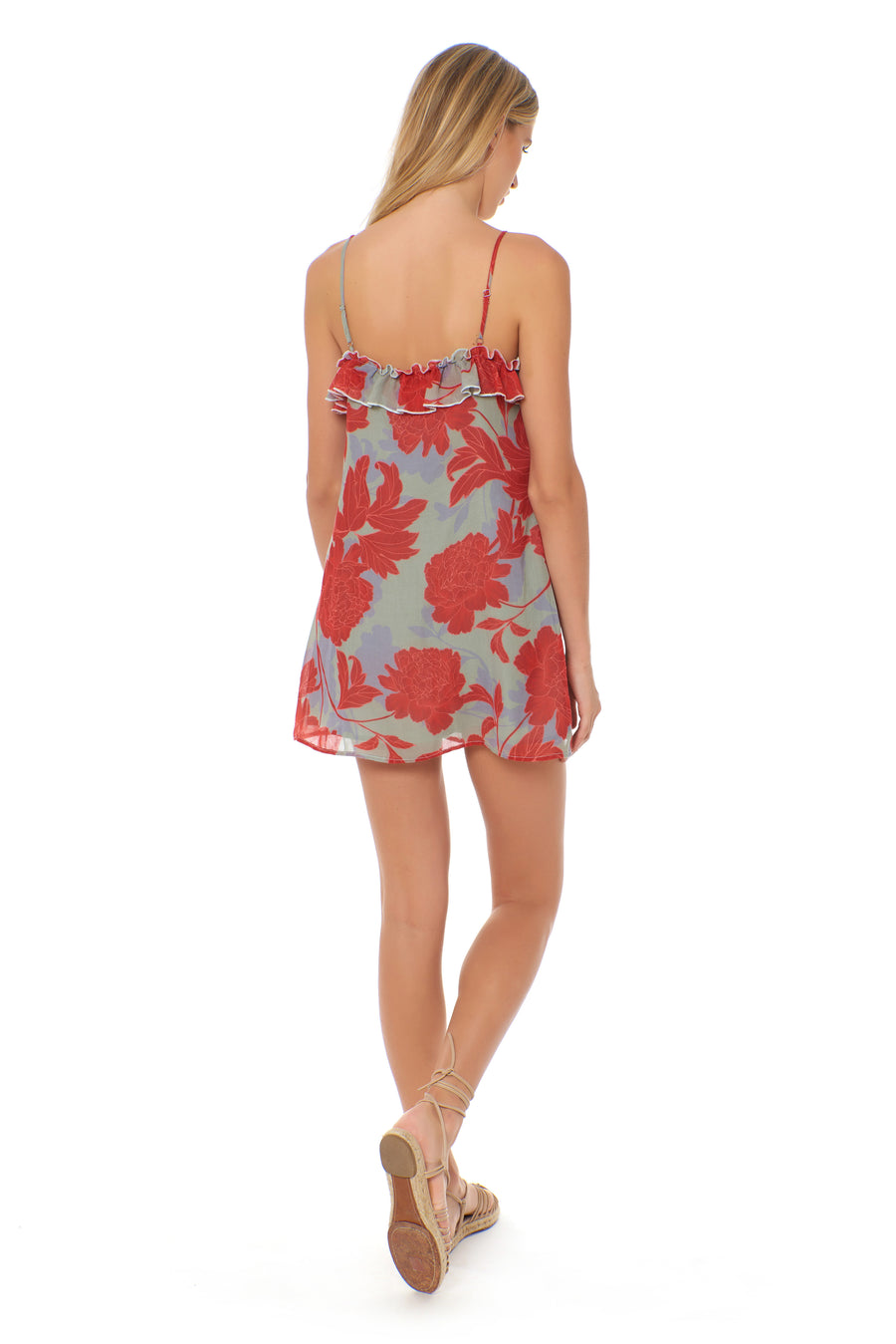 Anya Dress - Floral Vermillion - Red Carter