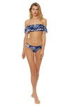 Amazon Jungle Ruffle Bandeau Bikini Top - Navy - Red Carter