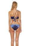 First Crush Lace Back One Shoulder Bikini Top - Navy