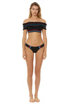 In Stitches Smocked Off Shoulder Bikini Top - Black