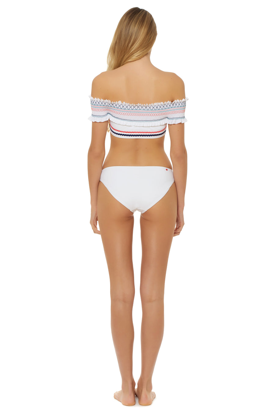 In Stitches Smocked Off Shoulder Bikini Top - White