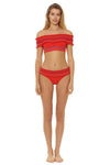 In Stitches Smocked Band Hipster Bikini Bottom - Red