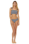In Stitches Smocked Bandeau Bikini Top - Navy