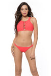 Splice & Dice High Neck Bikini Top - Coral - Red Carter