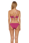 Splice & Dice Lace Back One Shoulder Bikini Top - Rose - Red Carter