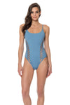 Splice & Dice Cut Out One Piece Swimsuit - Red Carter
