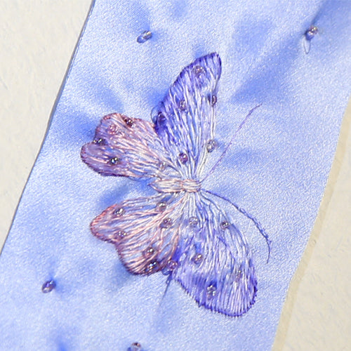 Handmade Silk Embroidered Butterfly Ribbon
