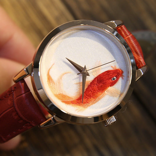 Handmade Leather Embroidery Koi Watch