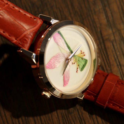 Handmade Leather Embroidery Lotus Watch