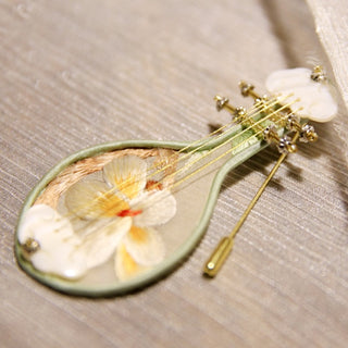 Handmade Double-sided Embroidered Silk Pipa Magnolia Brooch