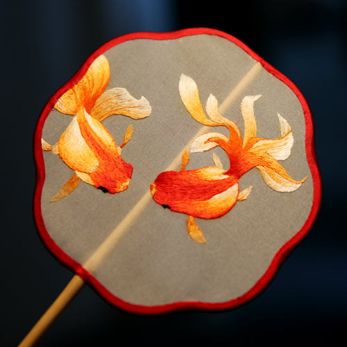Handmade Double-Sided Goldfish Embroidered Fan