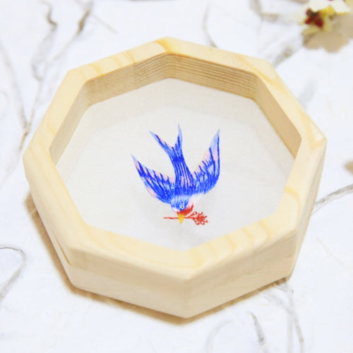 Handmade Pine Framed Double-Sided Embroidered Bird Ornament