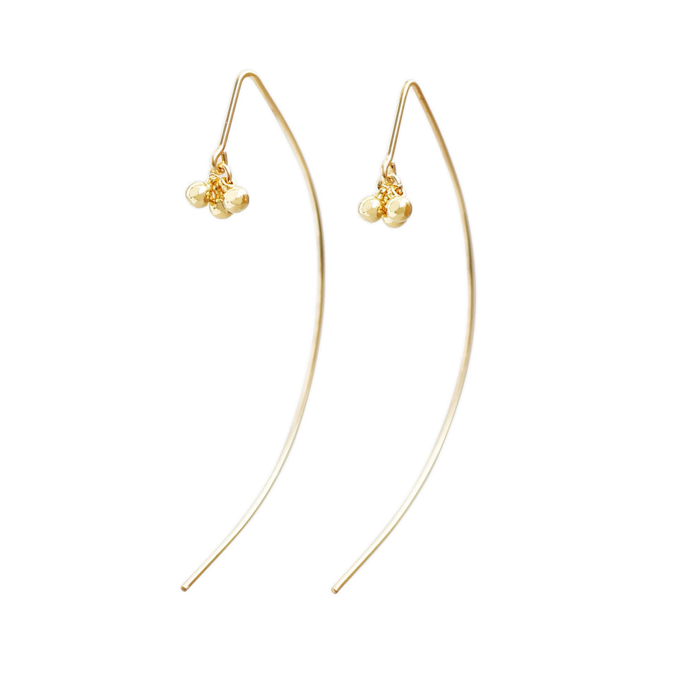 14k Gold Filled 3 Small Bells Dangling Earrings (1 Pair)