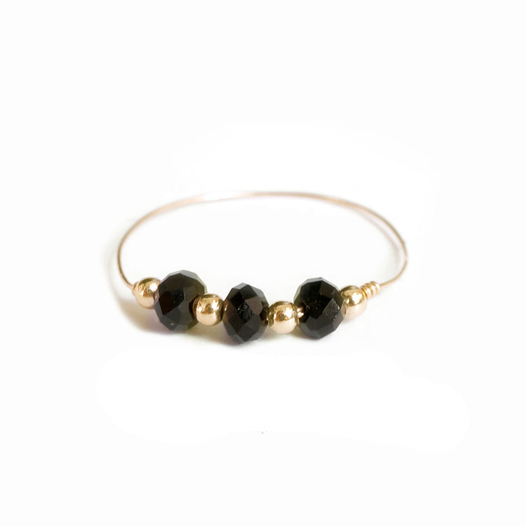 14k Gold Beads and Large Black Gems Chain Ring