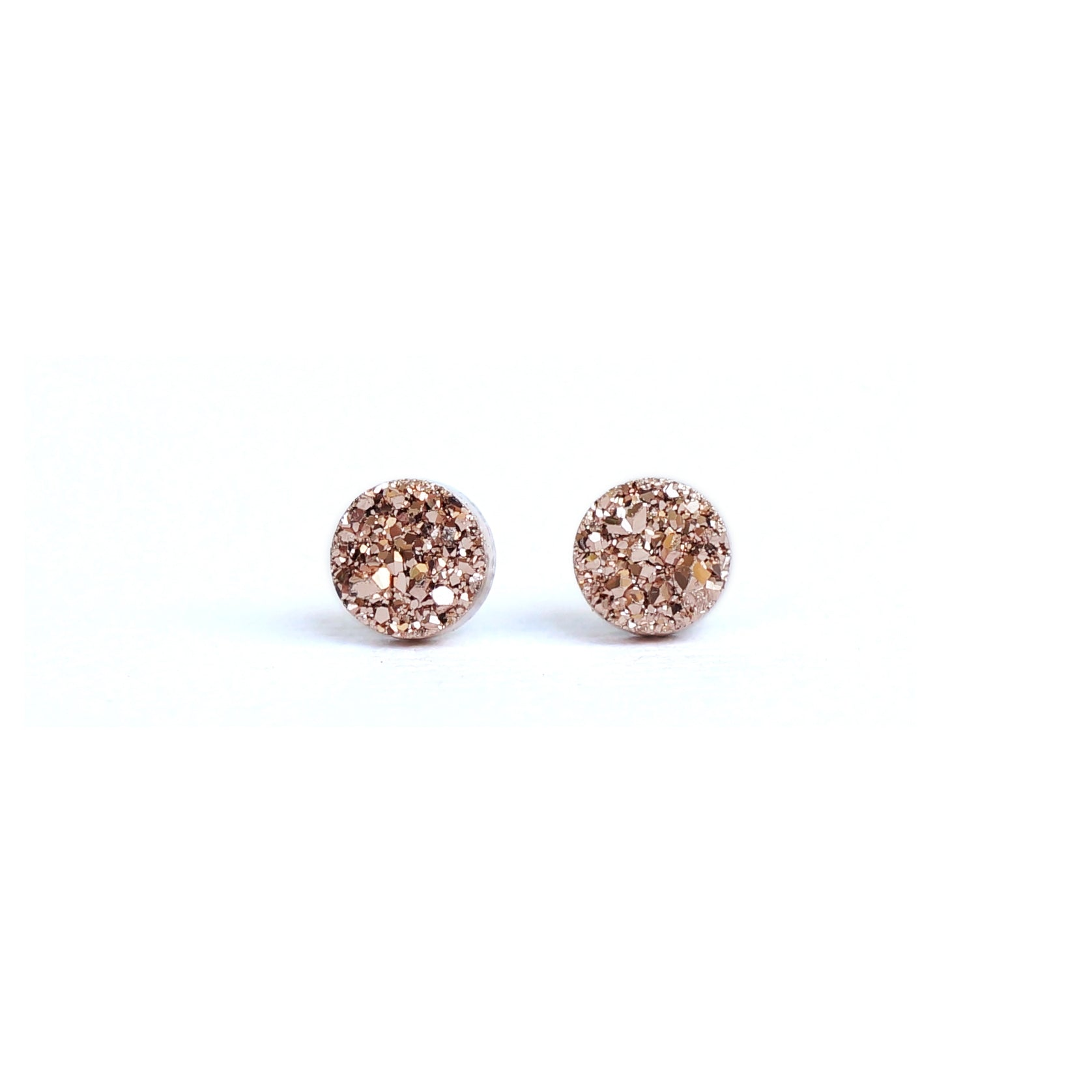 18k White Gold and 925 Silver Plated Gold Crystal Ear Studs