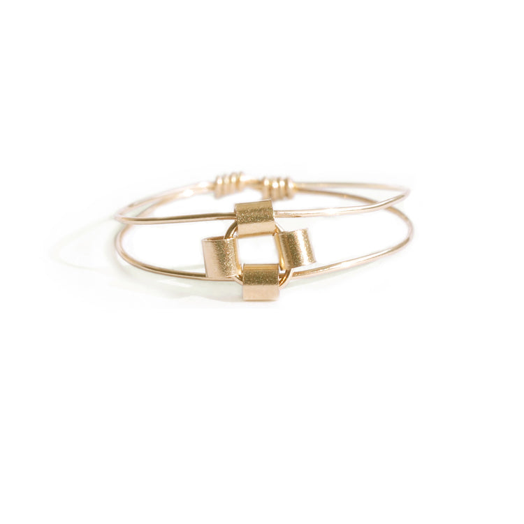 14k Gold Filled Square Bead Ring