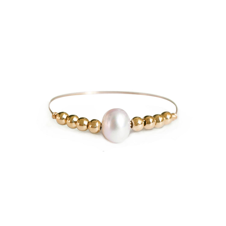 14k Gold Beads and Pearl Ring