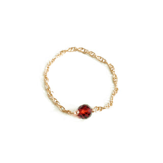14k Gold Chain and Large Red Gem Ring