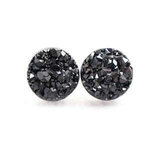 18k White Gold and 925 Silver Plated Black Crystal Ear Studs