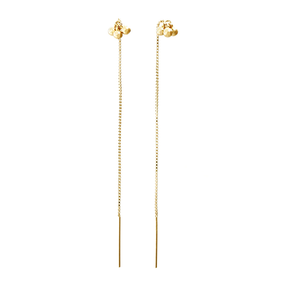 14k Gold 3 Small Bells Chain Earrings (1 Pair)