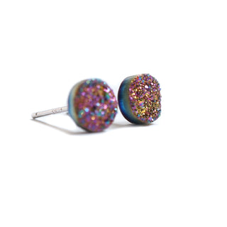 18k White Gold and 925 Silver Plated Rainbow Crystal Ear Studs