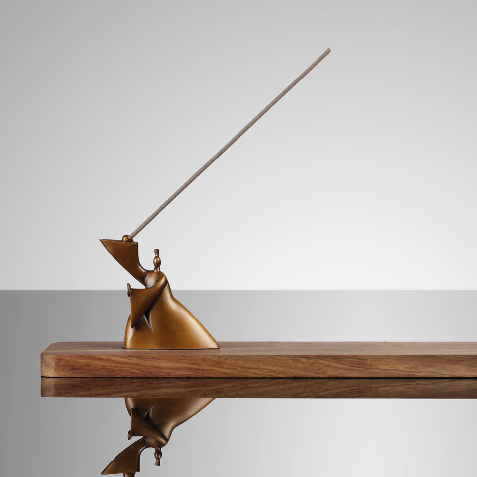 Bronze and Mahogany Taichi Incense Holder