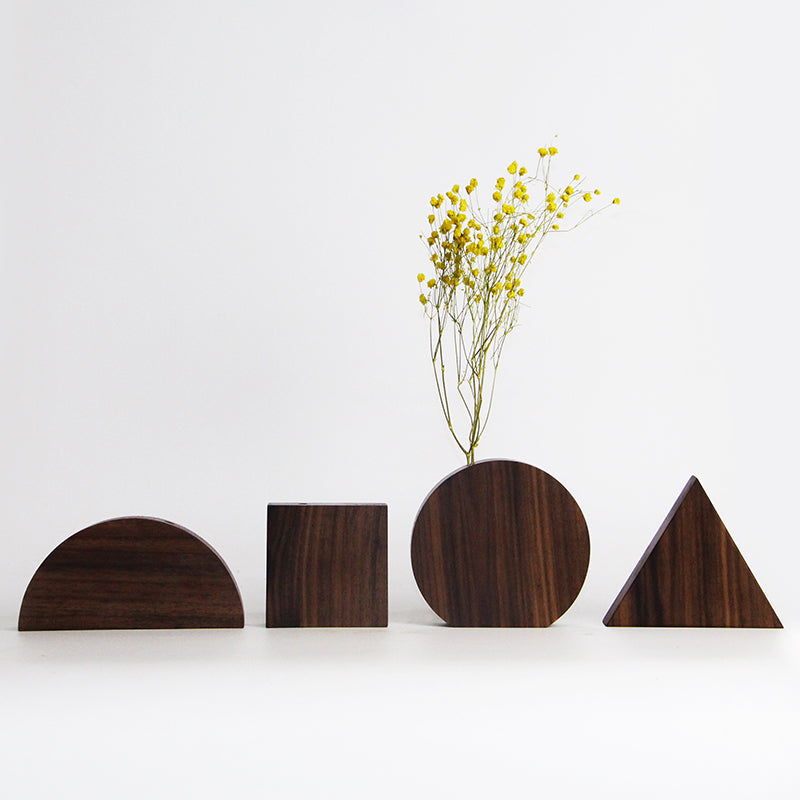 Handmade Black Walnut Wood Geometry Vase(4-Piece Set)