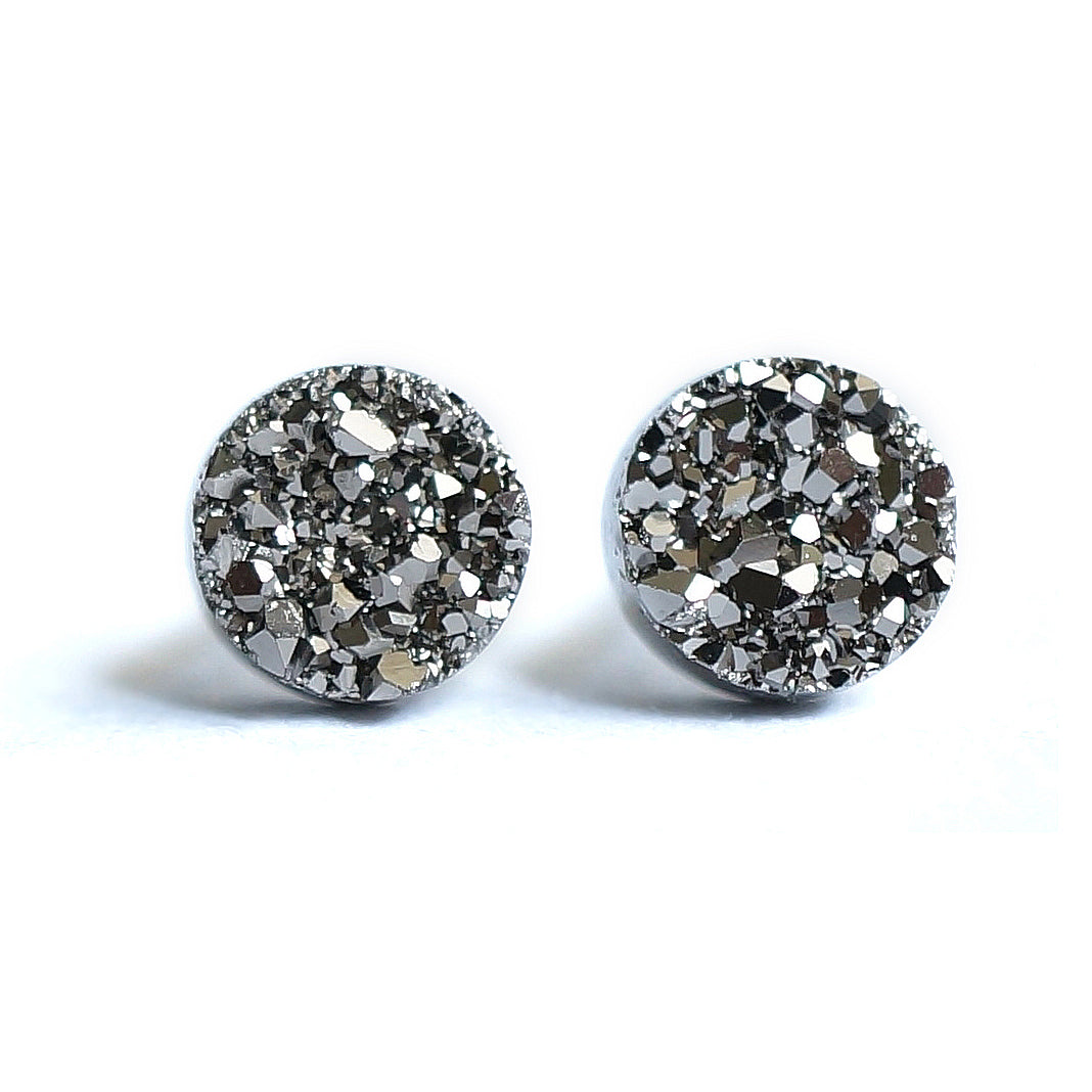 18k White Gold and 925 Silver Plated Silver Crystal Ear Studs