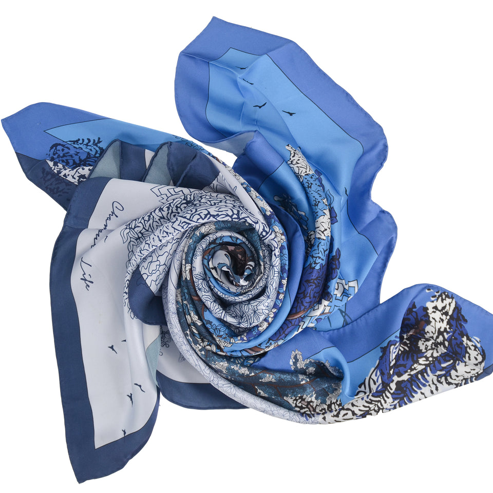 14mm Satin Scarf - Smokey Blue Wave