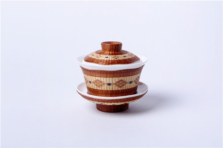 Handmade Bamboo and Porcelain Gaiwan