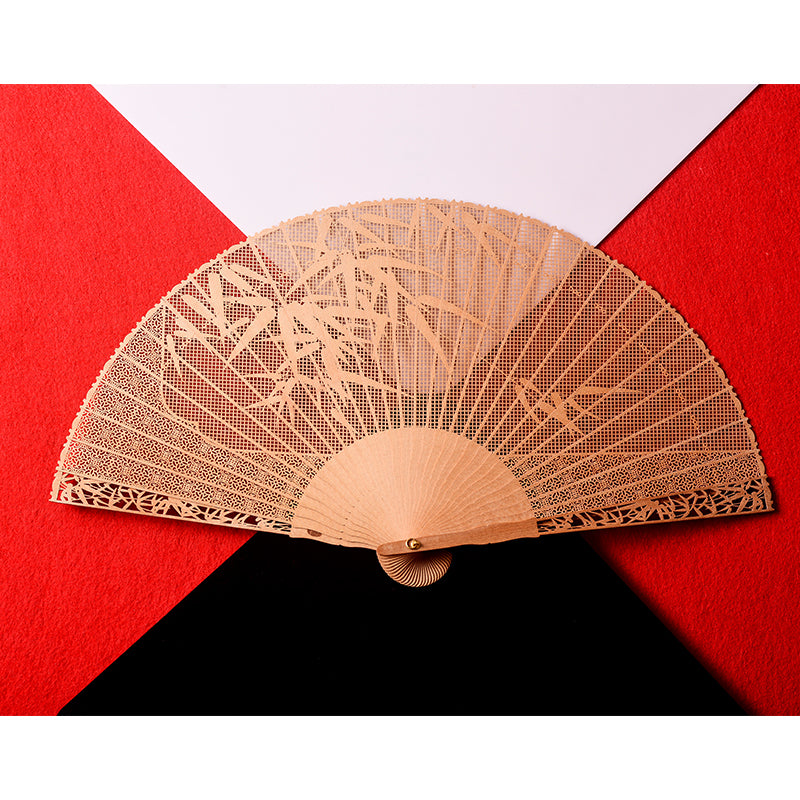 Red Sandal Wood Bamboo Fan