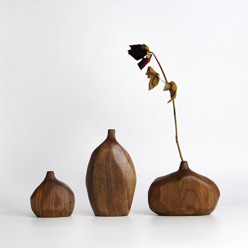 Handmade Black Walnut Wood Vase(3-Piece Set)