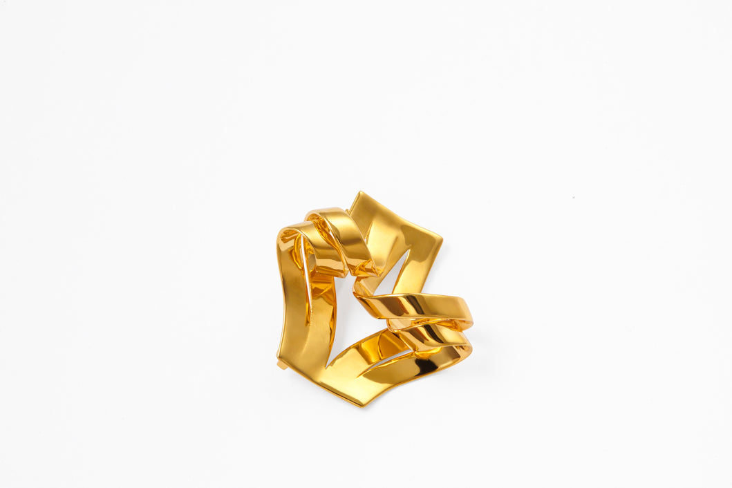 18k Gold and 925 Silver Paper-Like Brooch