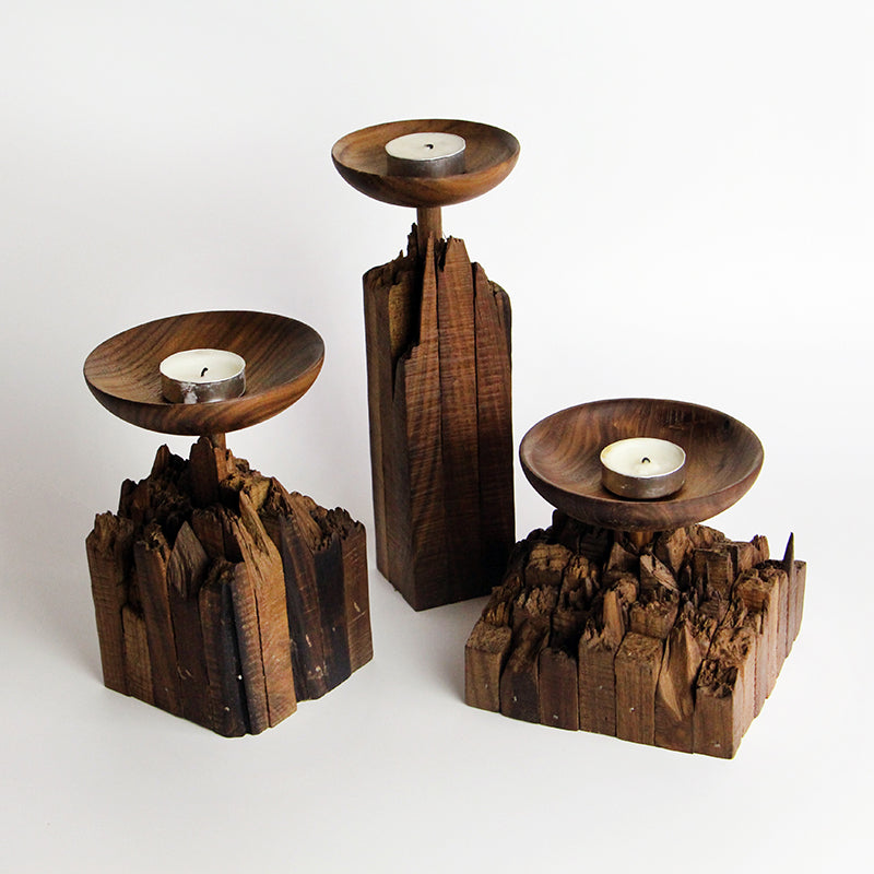 Handmade Black Walnut Wood Stump Candle Holder