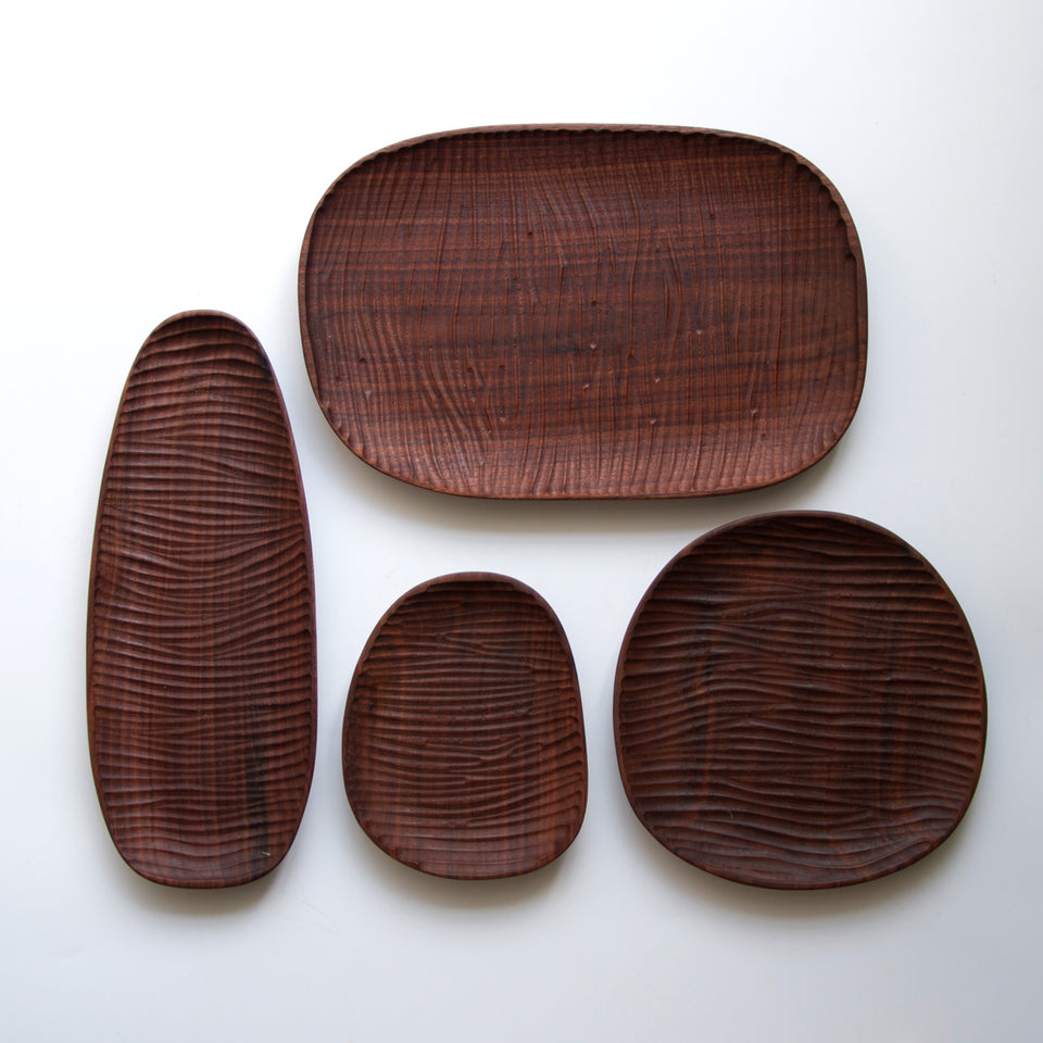 Handmade Black Walnut Cobblestone Series Tray Set