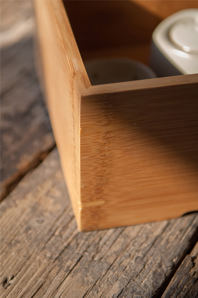 Handmade Bamboo Gongfu Tea Table with Storage Compartment
