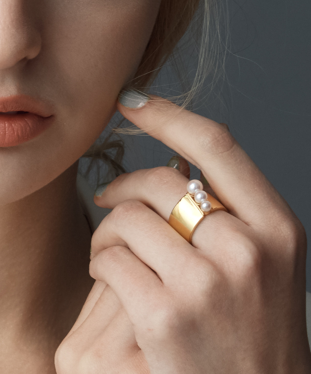 925 Silver Gold Plated AKOYA Pearl Ring