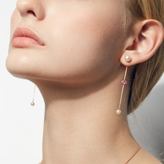 18K Rose Gold Funny Skip Series Pearl Earring