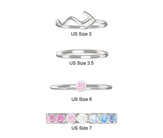 Rainbow 4-Piece Ring Set