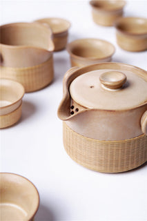 Handmade Bamboo and Beige Porcelain 8-Piece Tea Set